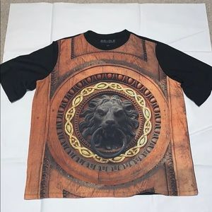 AG-ILE Mens Lion Head T-shirt Sz 3XL Black Gold